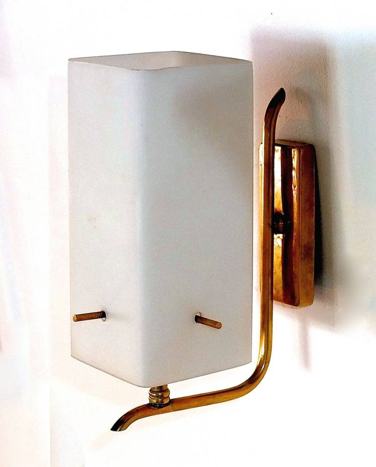 Pair of 1950s Brass Sconces with Box Shaped White Glass Shades 7
