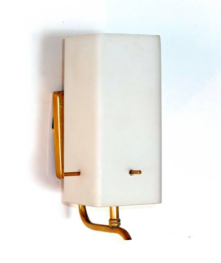 Pair of 1950s Brass Sconces with Box Shaped White Glass Shades In Excellent Condition For Sale In Hingham, MA