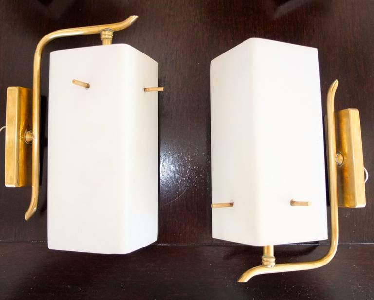 Mid-Century Modern Pair of 1950s Brass Sconces with Box Shaped White Glass Shades For Sale