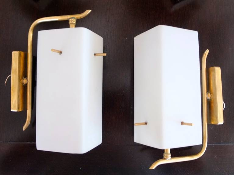 Pair of 1950s Brass Sconces with Box Shaped White Glass Shades For Sale 2
