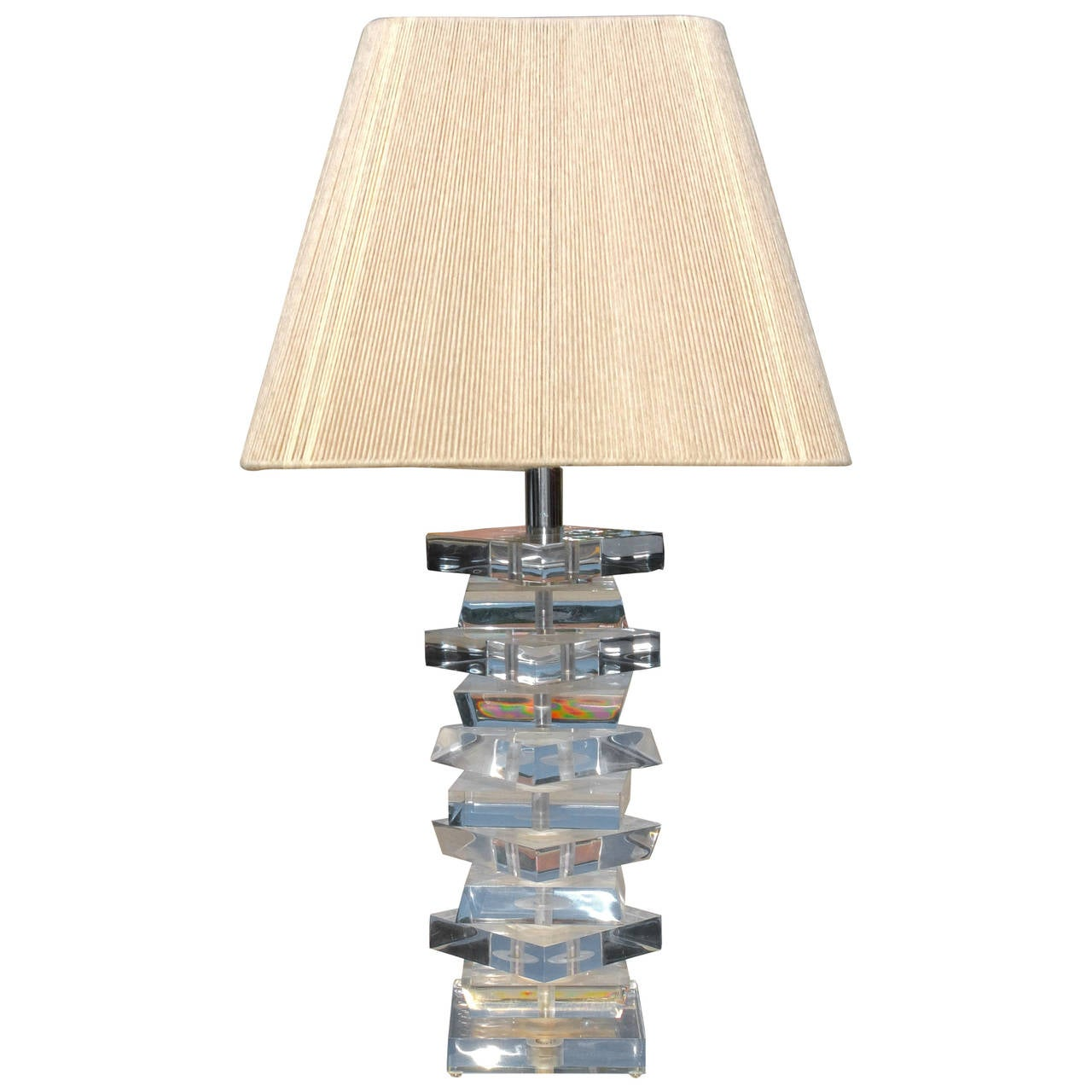 Lucite Spiral Stacked Block Table Lamp For Sale At 1stdibs