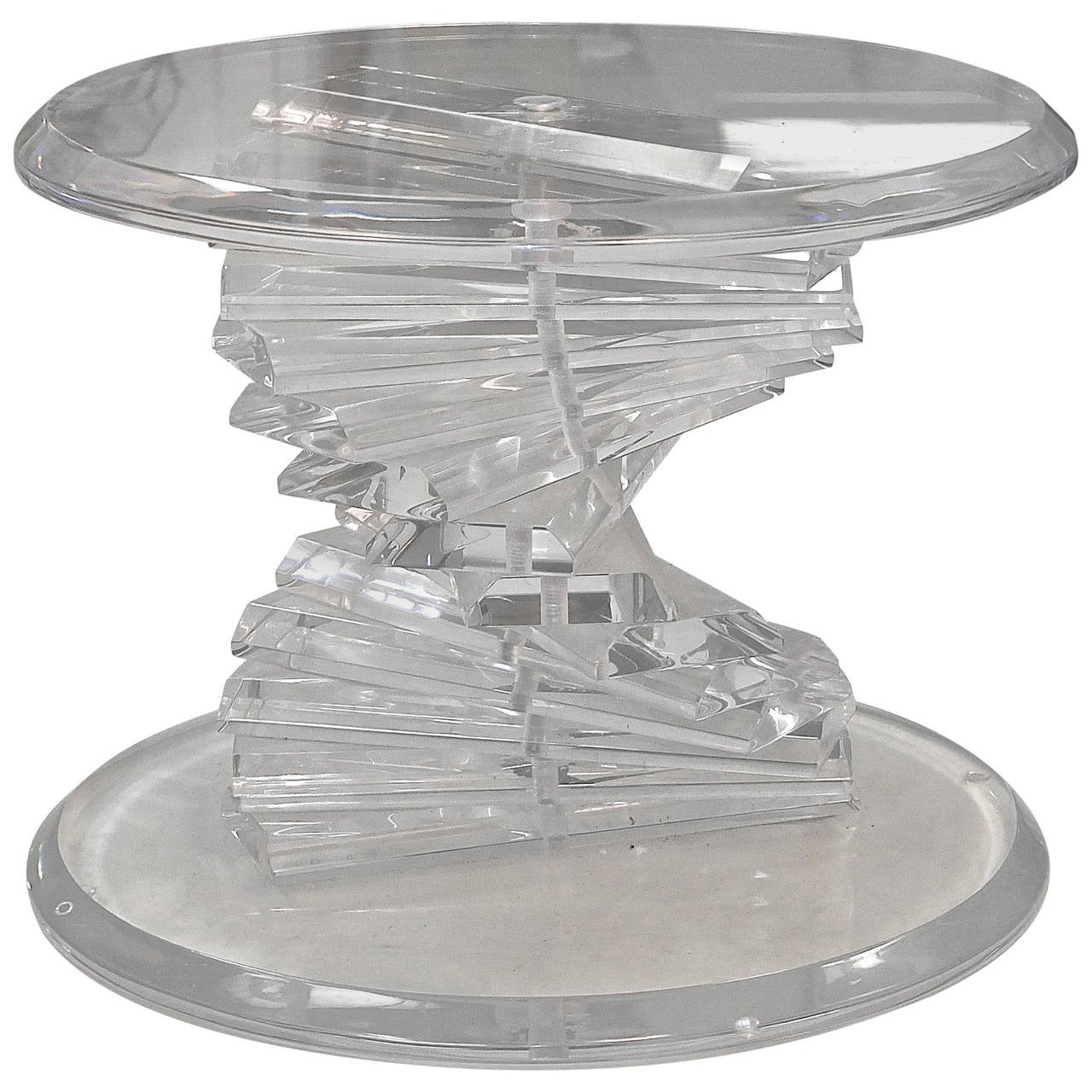 Mid Century Modern Round Side Table : Mid-Century Lucite Spiral Stacked Block Round Table For Sale at ...