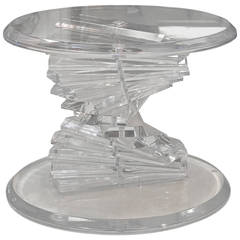 Mid-Century Lucite Spiral Stacked Block Round Table