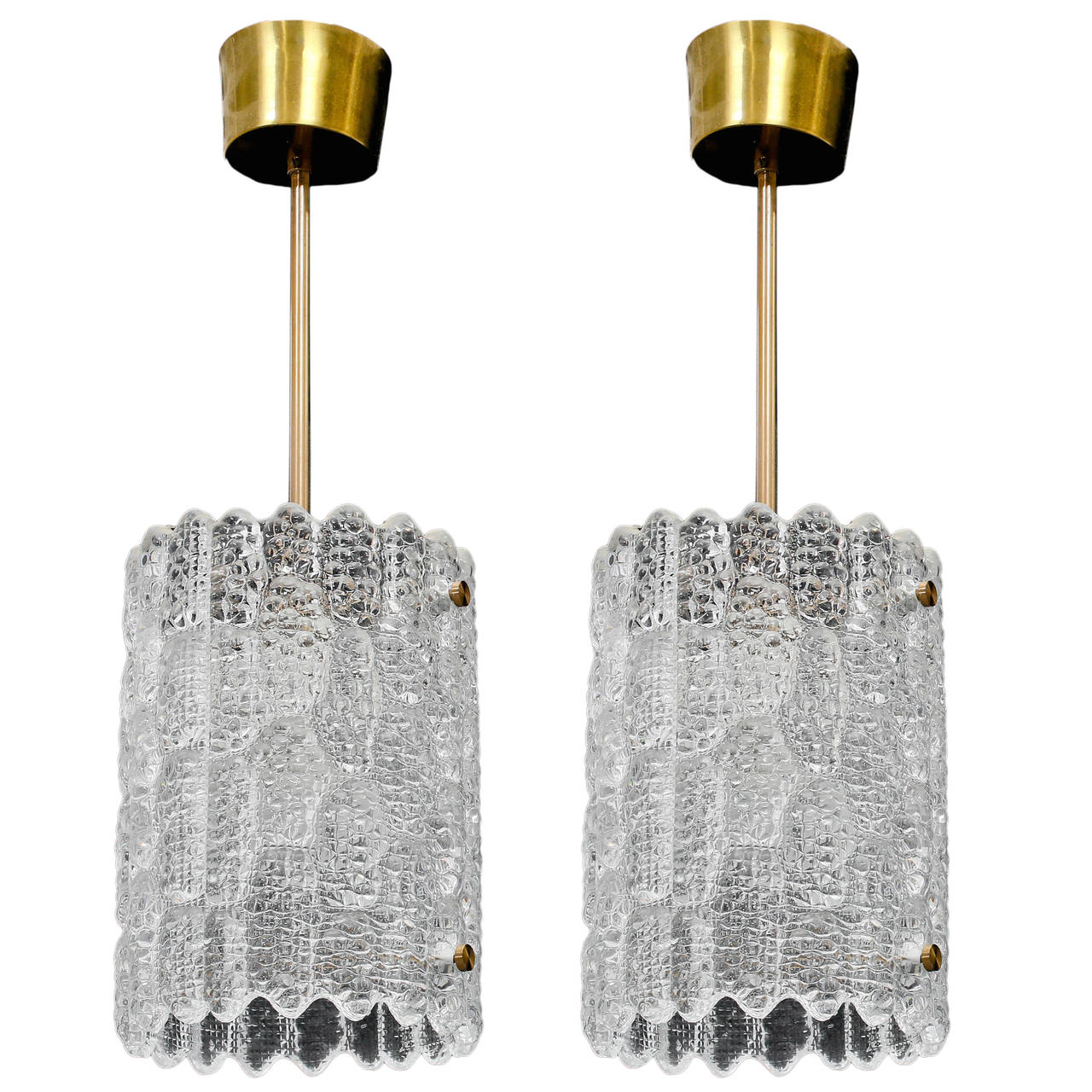 Pair of Crystal Pendant Lights by Carl Fagerlund for Orrefors For Sale
