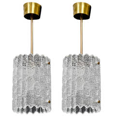 Pair of Crystal Pendant Lights by Carl Fagerlund for Orrefors
