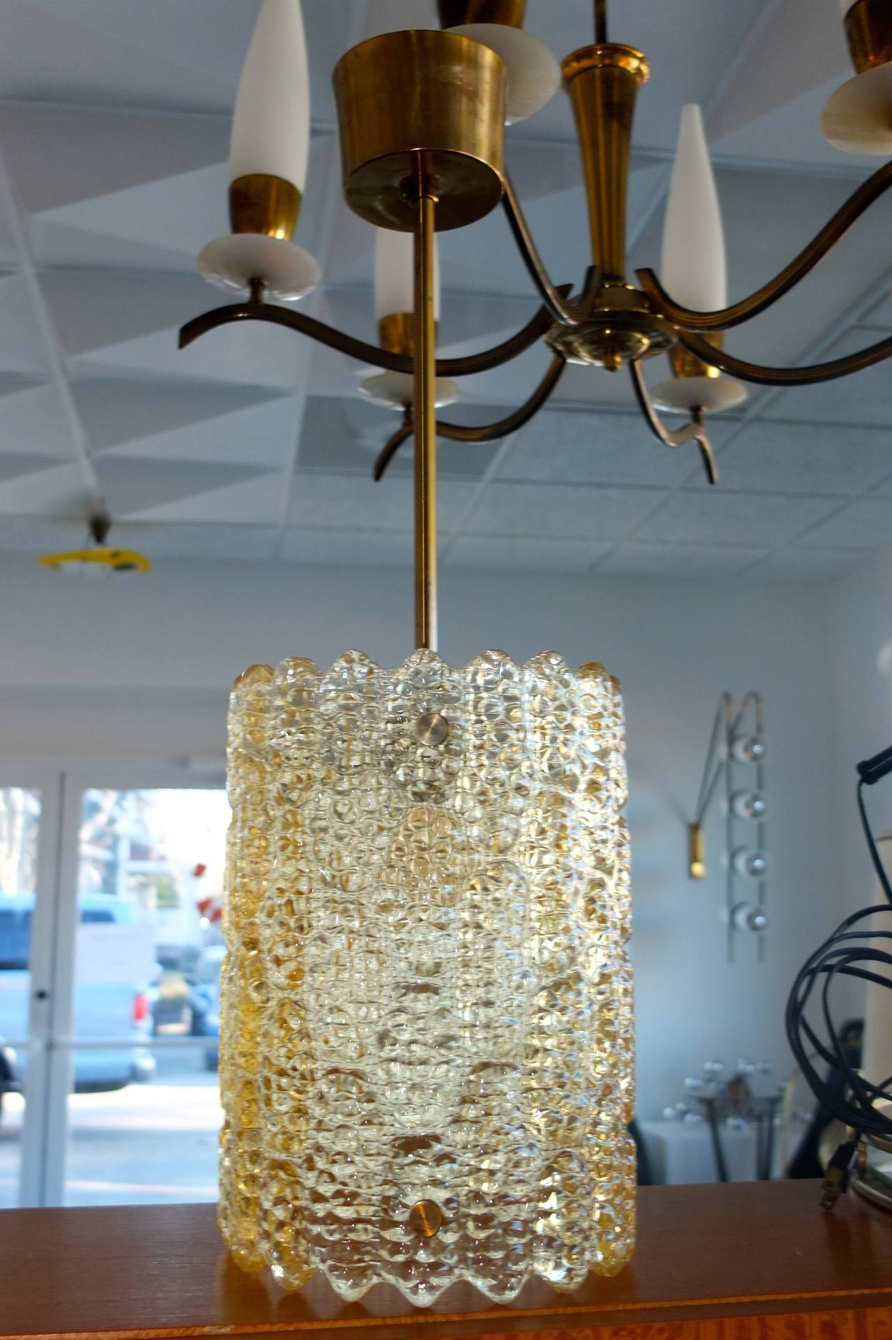 Mid-Century Modern Carl Fagerlund Gold Tinted Crystal Pendant for Orrefors