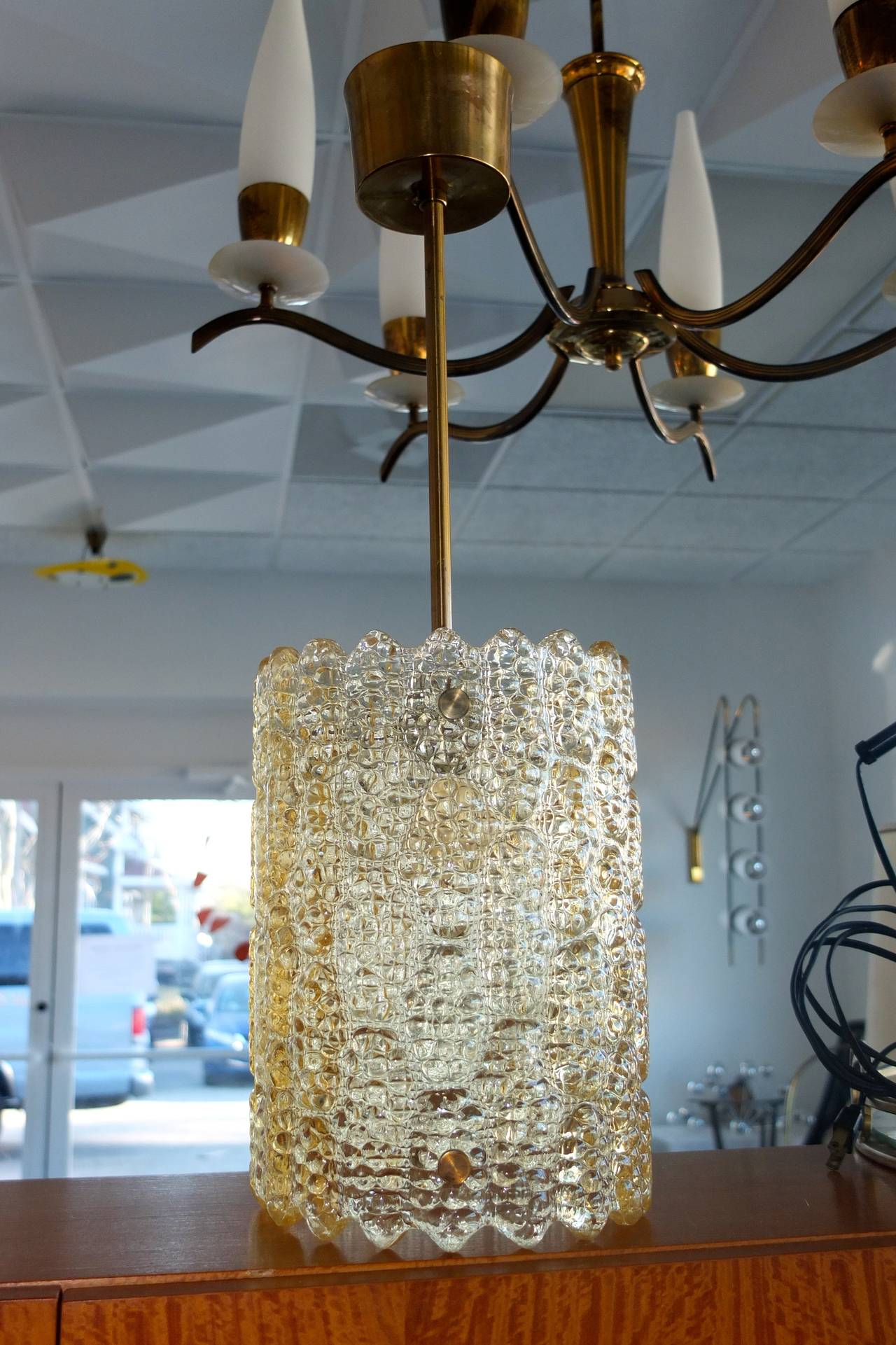 Carl Fagerlund Gold Tinted Crystal Pendant for Orrefors In Excellent Condition In Hingham, MA