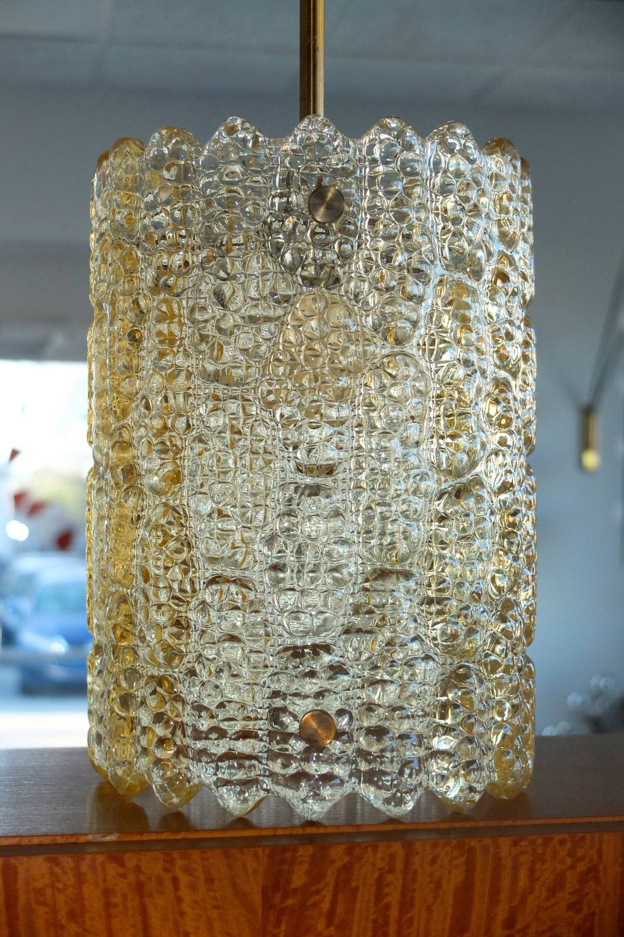 Mid-20th Century Carl Fagerlund Gold Tinted Crystal Pendant for Orrefors