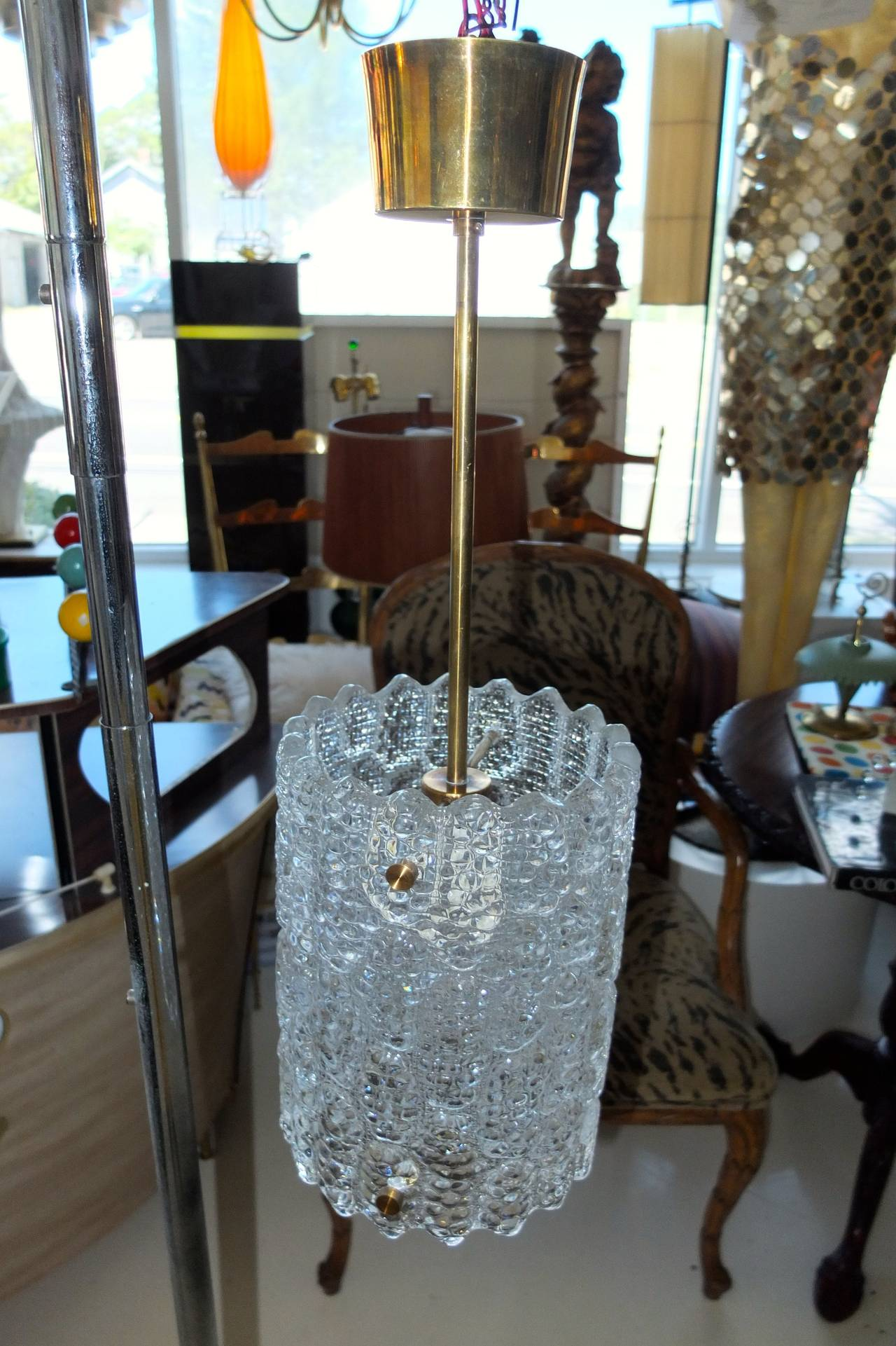 Pair of Crystal Pendant Lights by Carl Fagerlund for Orrefors For Sale 2