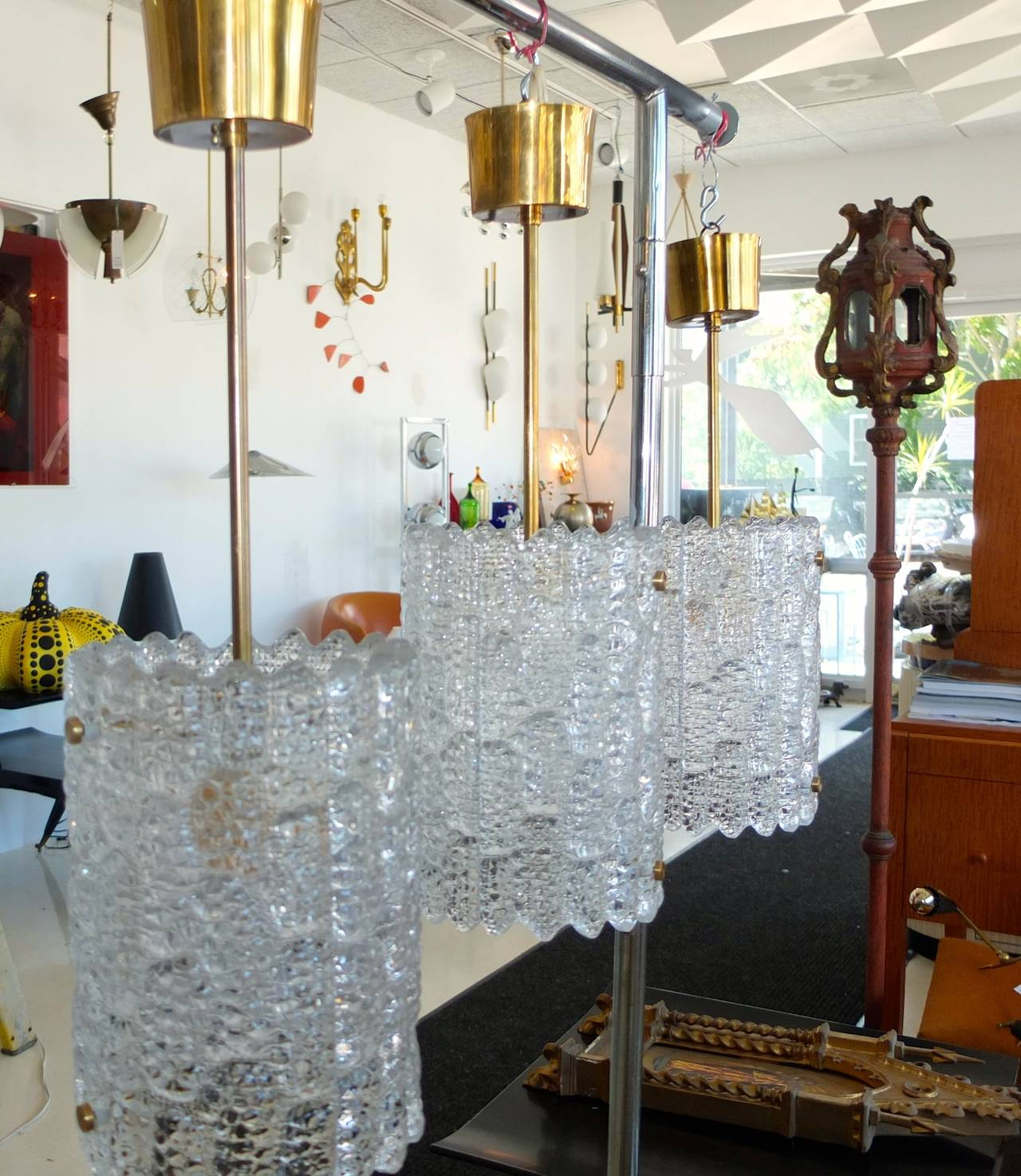 Pair of Crystal Pendant Lights by Carl Fagerlund for Orrefors In Excellent Condition For Sale In Hingham, MA