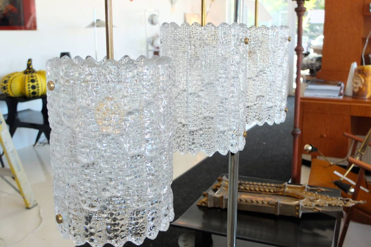 Pair of Crystal Pendant Lights by Carl Fagerlund for Orrefors For Sale 1