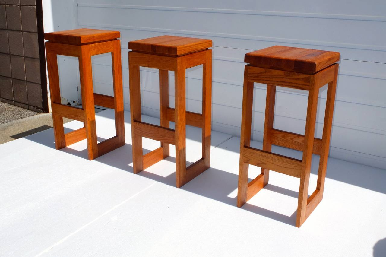 Set of 6 Butcher Block Block Bar Stools In Good Condition For Sale In Hingham, MA