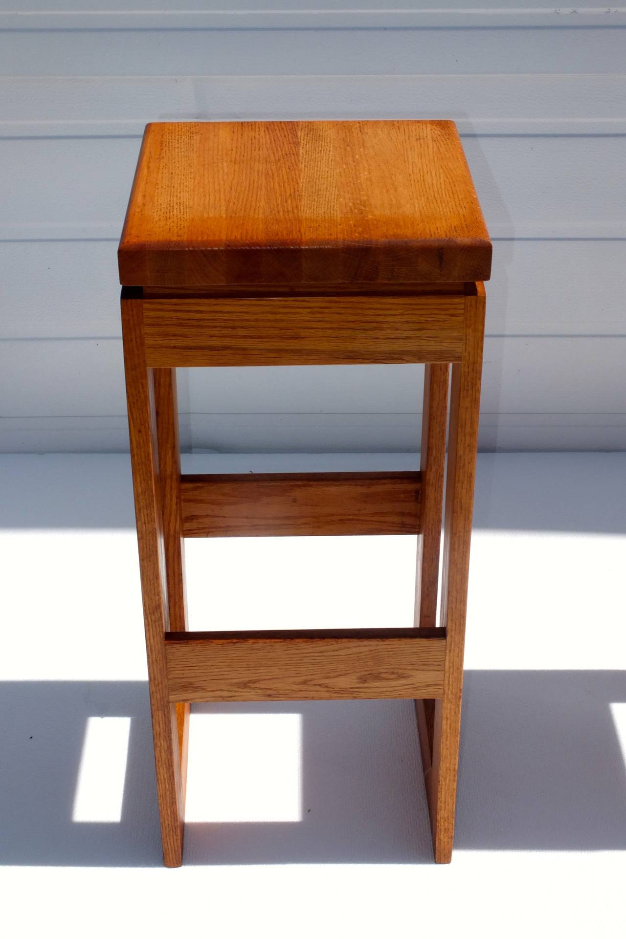 Late 20th Century Set of 6 Butcher Block Block Bar Stools For Sale