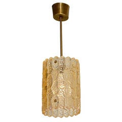 Carl Fagerlund Gold Tinted Crystal Pendant for Orrefors