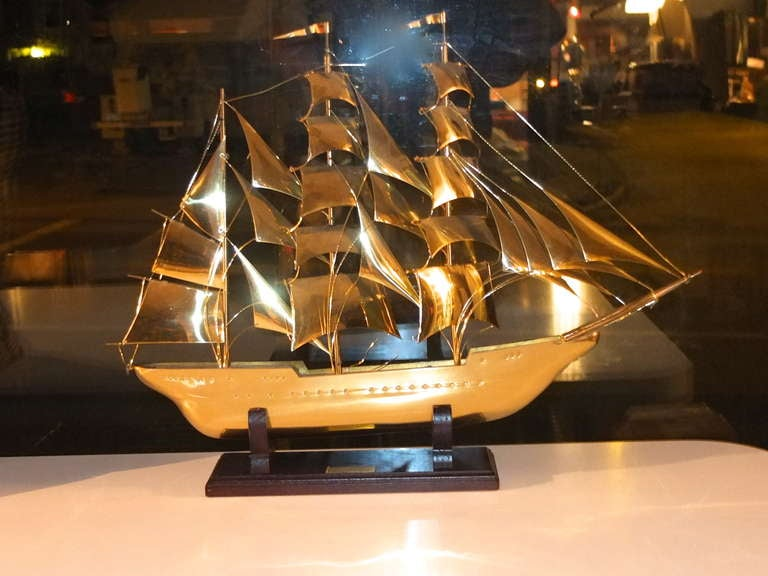 Modern Brass Scale Model Of Tall Ship
