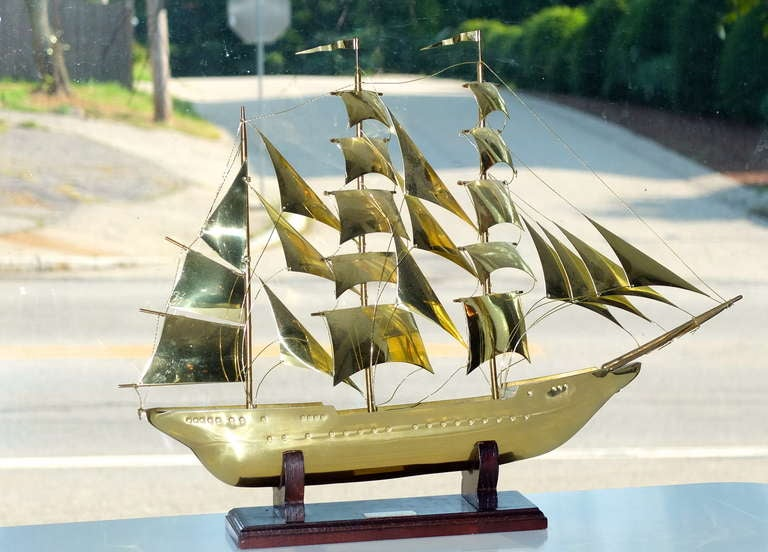 Unknown Brass Scale Model Of Tall Ship
