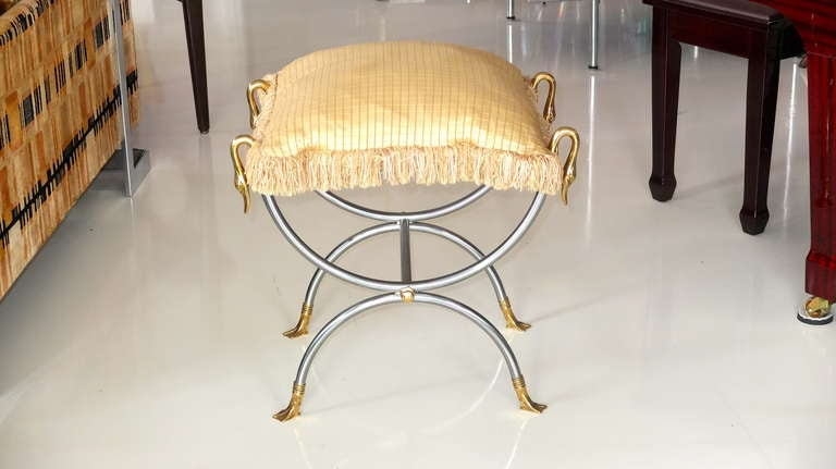 French Iron & Brass Swan Curule Stool In Excellent Condition For Sale In Hingham, MA
