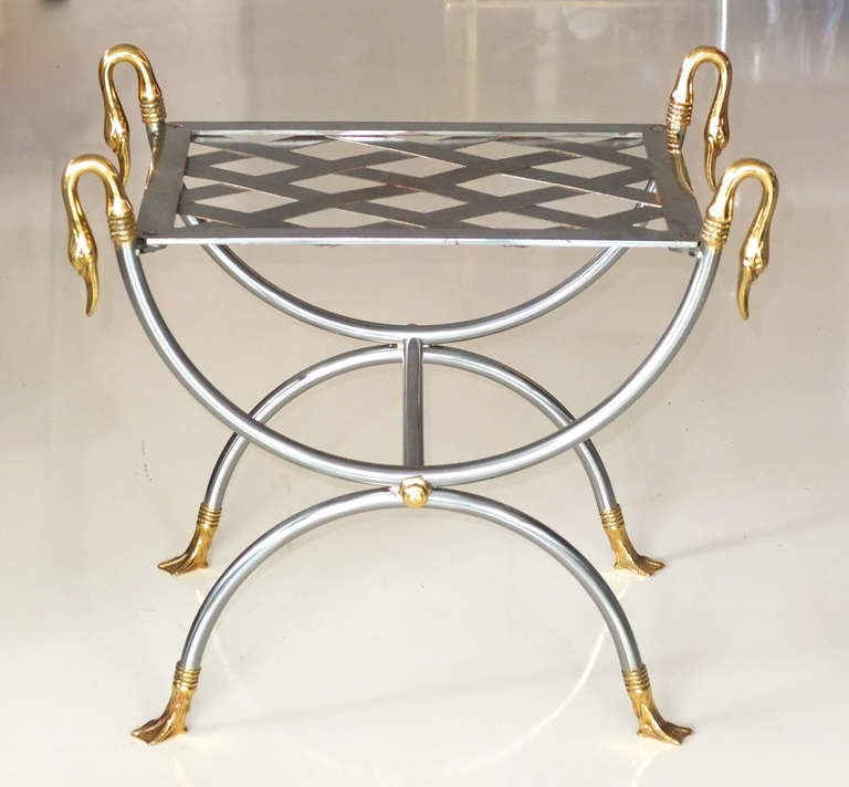 French 1960's curule stool in iron with brass swan embellishments. 19