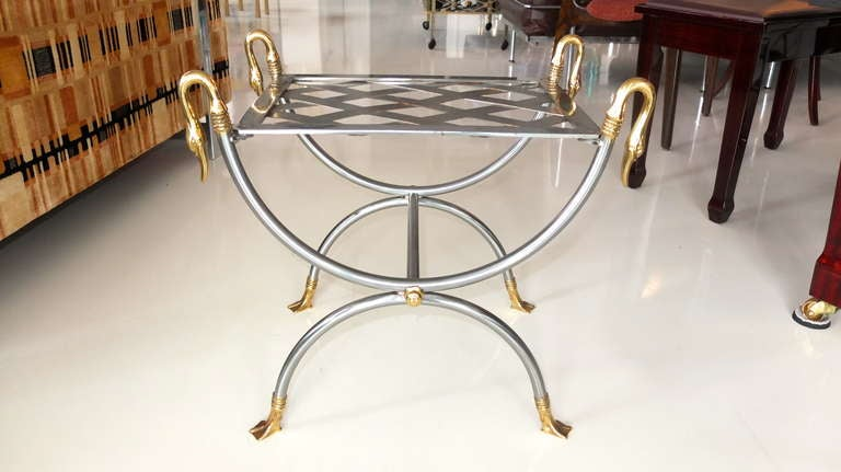 Mid-20th Century French Iron & Brass Swan Curule Stool For Sale