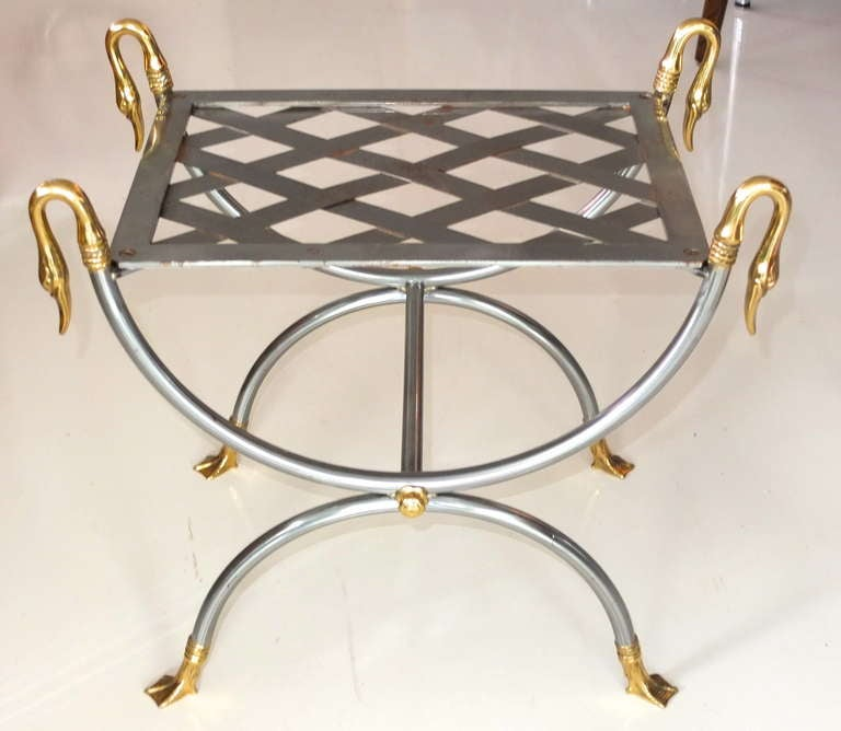 French Iron & Brass Swan Curule Stool For Sale 2