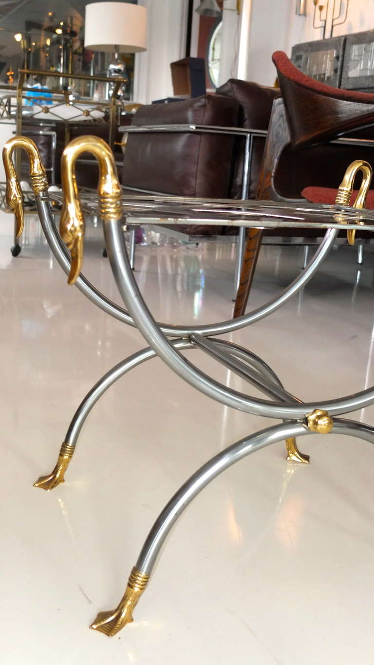 French Iron And Brass Swan Curule Stool At 1stdibs