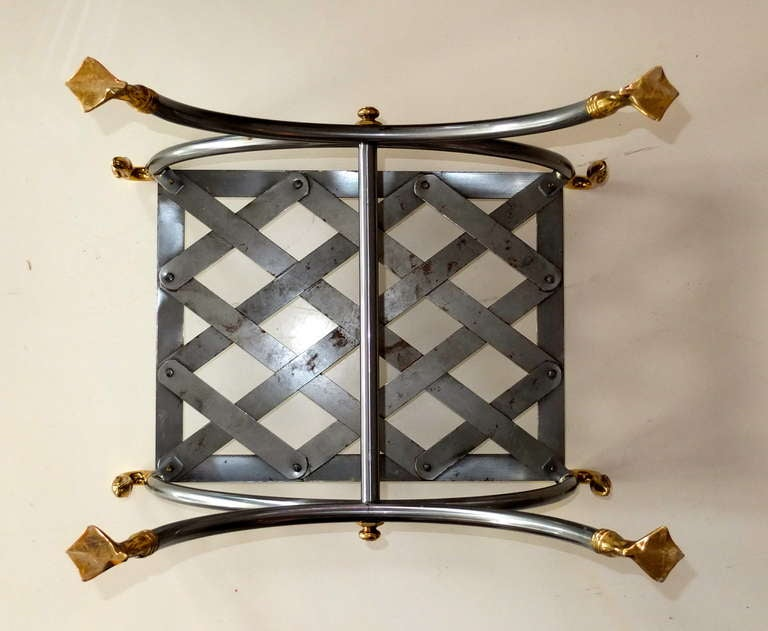 French Iron & Brass Swan Curule Stool For Sale 5