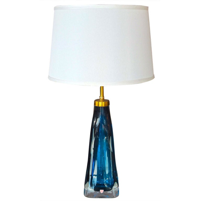 Lovely Carl Fagerlund For Orrefors Blue Glass Table Lamp For Sale