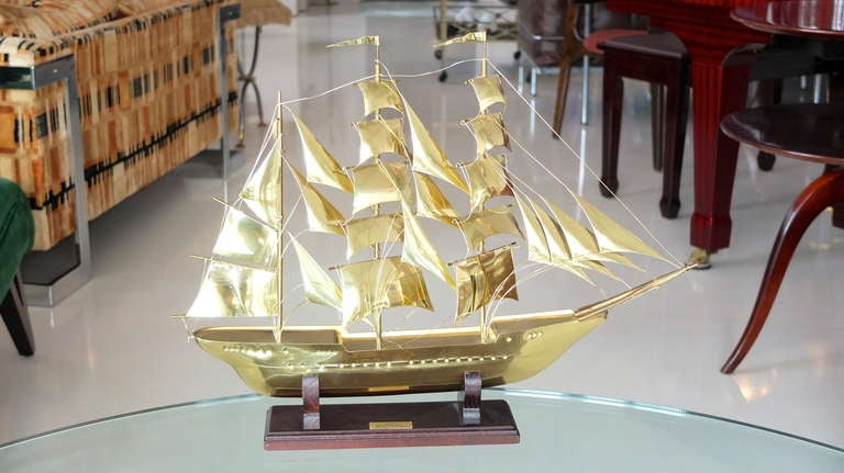 Late 20th Century Brass Scale Model Of Tall Ship