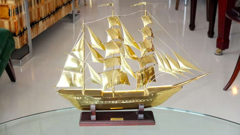 Brass Scale Model Of Tall Ship