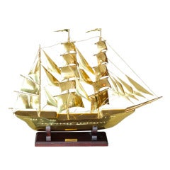 "Brass Scale Model Of Tall Ship ""Sagres"""