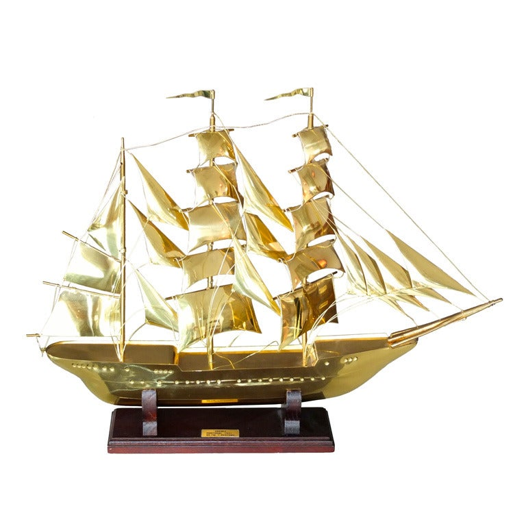 """Brass Scale Model Of Tall Ship """"Sagres"""" For Sale"""