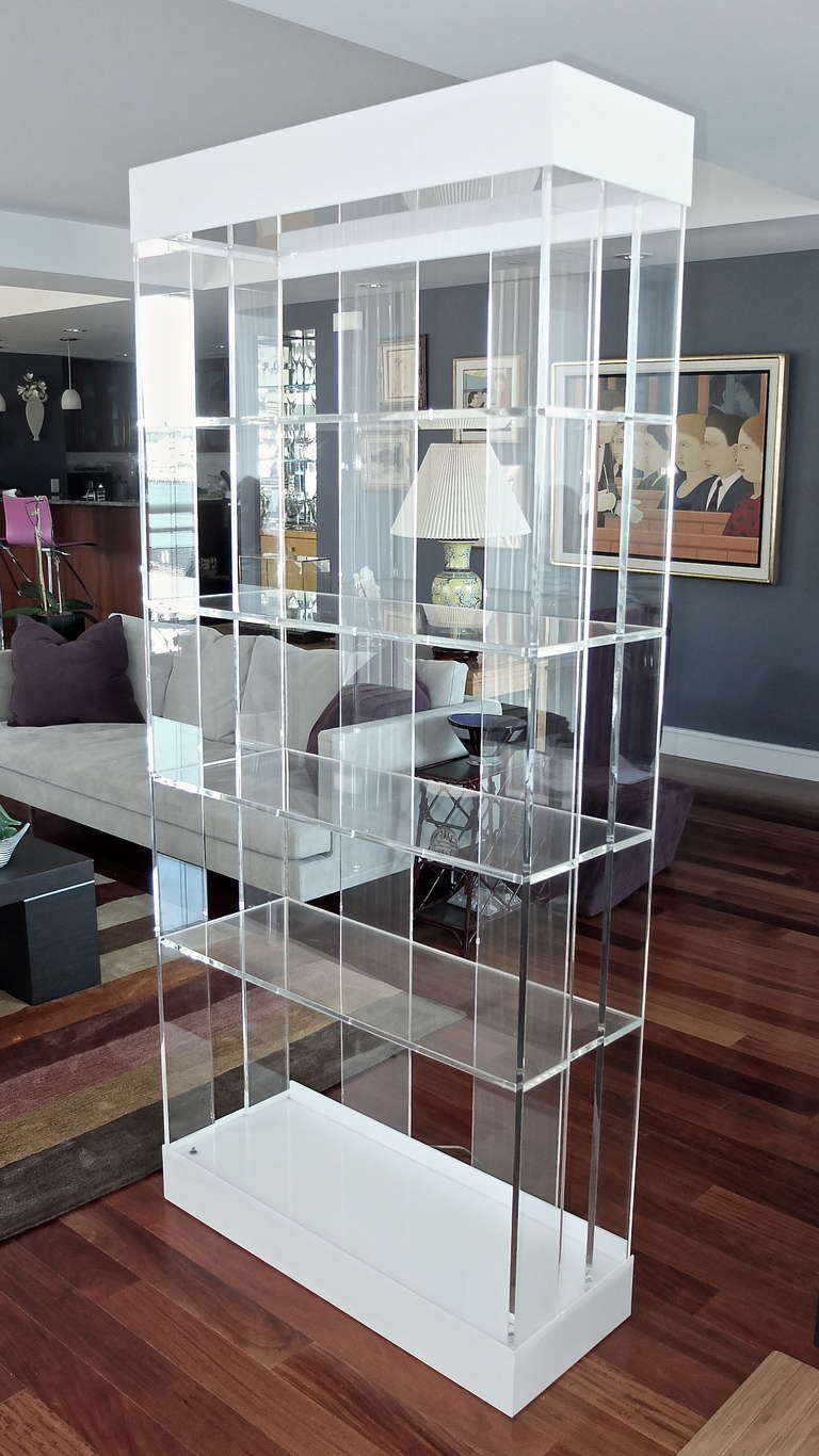 Pair Of Illuminated Lucite Etageres By Pace Collection At