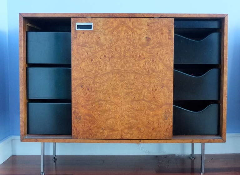Mid-20th Century Harvey Probber Olive Burl Cabinet of Drawers For Sale