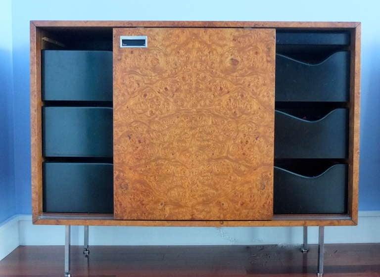 Harvey Probber Burl Sliding Door Cabinet At 1stdibs