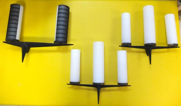 Aluminum Pair of Maison Arlus Sconces For Sale