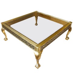 Mastercraft Brass and Glass Cocktail Table with Greek Key Meander