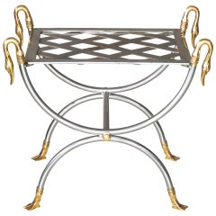 French Iron & Brass Swan Curule Stool