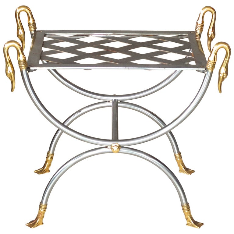 French Iron & Brass Swan Curule Stool For Sale