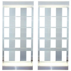 Pair of Illuminated Lucite Etageres by Pace Collection