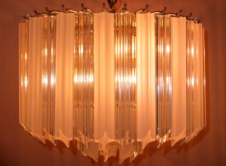 Pair of Hollywood Regency Lucite Triedri Prism Crystal Chandeliers For Sale 1