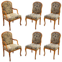 Set of 6 Palm Frond Carved Chairs in the Style of Serge Roche