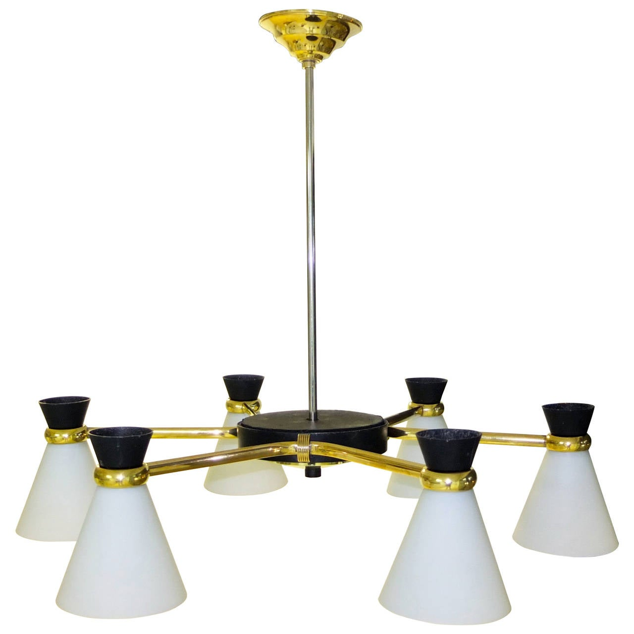 French 1950s Chandelier with Six Opaline Glass Diabolo Shades