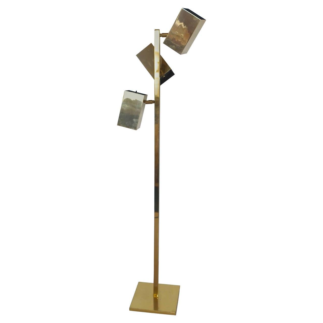 Koch & Lowy Brass Cubist Floor Lamp