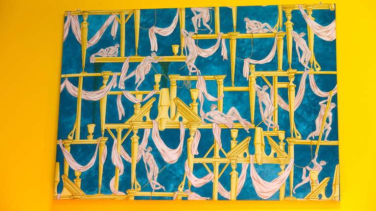 """Gio Ponti's """"La Casa Degli Efebi"""" Fabric Panel by Avigdor 2"""