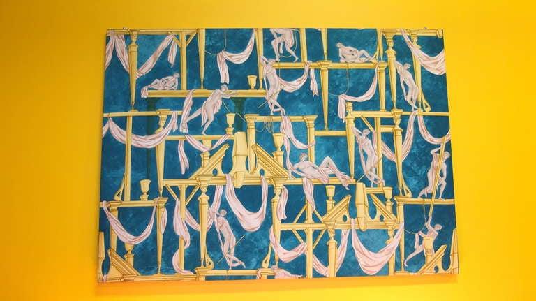 """Gio Ponti's """"La Casa Degli Efebi"""" Fabric Panel by Avigdor 4"""