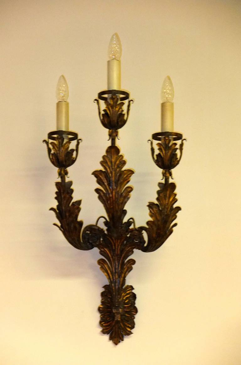 Palazzo Scale Italian Tole Sconces With Acanthus Leaves For Sale 4