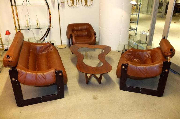 Percival Lafer Leather and Rosewood Sofa or Loveseat 4