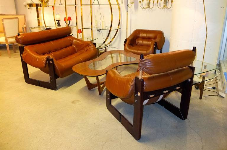 Percival Lafer Leather and Rosewood Sofa or Loveseat 5