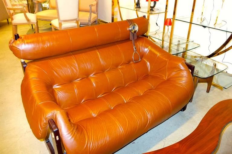 Percival Lafer Leather and Rosewood Sofa or Loveseat 8