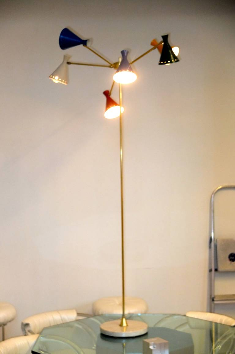 Italian multi arm floor lamp for sale at 1stdibs for Multi led floor lamp